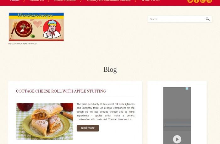 Кулинарный сайт на английском