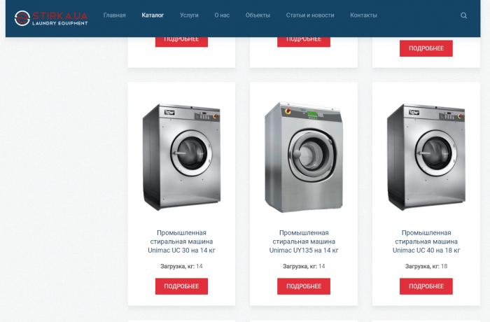 Описание категории товаров (промышленные стиральные машины)